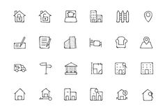 Real Estate Hand Drawn Doodle Icons 2 Royalty Free Stock Photography