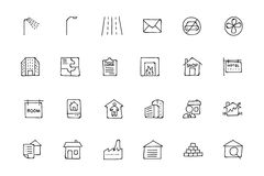 Real Estate Hand Drawn Doodle Icons 6. This trendy set of real estate  icons are just perfect for real estate agencies and home insurance agencies, adverts and Royalty Free Stock Photos