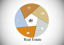 Real Estate hexagon infographic. Infographic with hexagon shape consists of six parts and Real Estate motif in the middle with other signs and symbols on light Stock Photo
