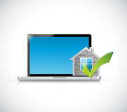 Real estate home approve computer illustration Stock Photos