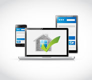 Real estate home approve electronics illustration Royalty Free Stock Photography