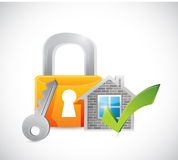 Real estate home approve lock illustration Stock Image
