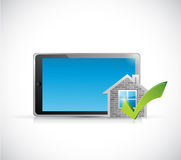 real estate home approve tablet illustration Royalty Free Stock Photography