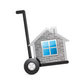Real estate home on a dolly. illustration Stock Image