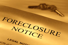 Real Estate Home Foreclosure Legal Notice and Keys Royalty Free Stock Image