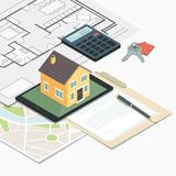 Real estate and home insurance. Real estate, loan and home insurance: model house on a table, house plan and home keys Royalty Free Stock Image