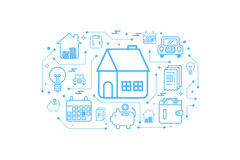 Real estate home outline icon concept Stock Images