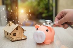 Real estate or home savings - piggy bank. Business concept Royalty Free Stock Images