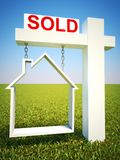 Real estate home sold concept sign with sky background. Stock Images