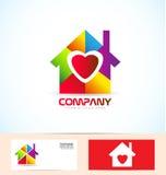 Real estate house family logo. Vector company logo icon element template real estate house love heart set Stock Photo