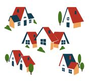 Real Estate or house icons. Building and architecture, cottage and house, roof and symbol. Vector illustration Stock Photo