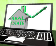 Real Estate House Laptop Means Selling Or Buying Land And Proper Stock Photos