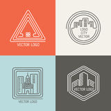 Real estate house linear logos, emblems vector set Stock Photo