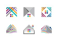 Real estate, house logo, building apartment icons, collection of home construction symbol vector design Stock Photos