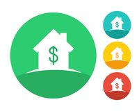 Real estate house logo with dollar symbol. Real estate house logo concept with dollar symbol. Eps10 vector and color set Royalty Free Stock Images