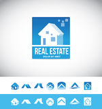 Real estate house logo 3d icon. Vector company logo icon element template real estate house 3d blue property realtor realty residential home roof Stock Photo