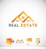 Real estate house logo icon design. Real estate house orange vector logo icon sign design template corporate identity Stock Photo