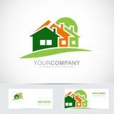 Real estate house logo icon. Vector logo template of real estate icon with three house shape Royalty Free Stock Photography