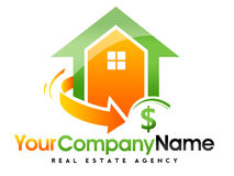 Real Estate House Logo. An illustration representing an abstract real estate house logo with a swash arrow and a dollar sign Royalty Free Stock Photography
