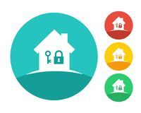 Real estate house logo with key and lock. Eps10 vector color set Stock Photography
