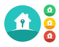 Real estate house logo with key. Eps10 vector and color set Royalty Free Stock Images