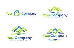 Real Estate House Logo. Real Estate Logo Set. Creative abstract real estate icon logo with blue and green colors Royalty Free Stock Photography