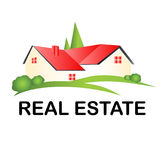 Real estate house logo. Real estate house with trees logo vector Royalty Free Stock Photo