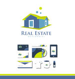 Real estate house logo. Vector company logo icon element template real estate house 3d property residential realty realtor green yellow blue Royalty Free Stock Image