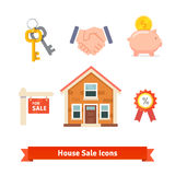 Real estate, house mortgage, loan, buying icons Stock Images