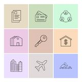 Real estate , house , property , money , eps icon set vector. Real estate , house , property , money , dollar , navigation , location , sale , purchase , search Stock Image