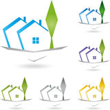 Real estate, house, roof, architecture. Real Estate logo, house and tree, Roofing logo Stock Images