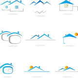 Real estate, house, roof, architecture. Property logos, house and roof, architecture logos Stock Photos