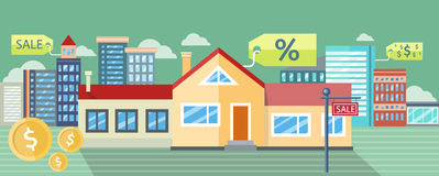 Real Estate, House for Sale, Installment Sale. Real estate house for sale, installment sale, credit. Design concept, flat icon, illustration. For web banners Royalty Free Stock Images