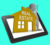 Real Estate House Tablet Shows Land And Buildings For Sale Stock Image