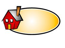 Real Estate House Web Logo 5. A clip art logo illustration of a little red house set against a gold and black oval background isolated on white Royalty Free Stock Image