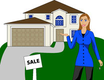 Real Estate House Woman Stock Photography