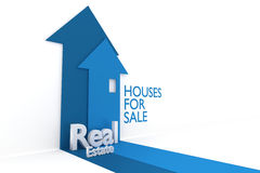 Real Estate with Houses. 3d rendered image of a houses with the words real estate Stock Photo