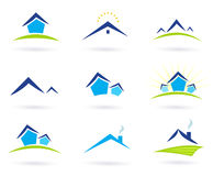 Real estate / houses logo icons isolated on white. Collection of green and blue real estate icons. Vector format Stock Image