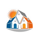 Real estate houses and sun logo Royalty Free Stock Images