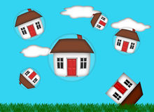 Real Estate Housing Bubble Burst Stock Photo