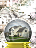 Real Estate Housing Market. A housing crisis concept with a home in a crystal ball with a money puzzle background.  A great concept for predicting the changes in Royalty Free Stock Image