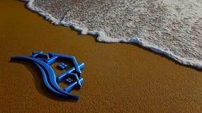 Real Estate hus i stranden 3d som fäster den lätta redigerande mappillustrationen ihop, inkluderade banaframförandet Royaltyfri Foto