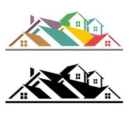 Real estate icon. An illustration of colorful and black and white real estate icon Stock Images