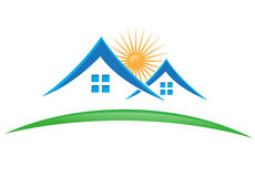 Real estate icon. Green and blue real estate icon - illustration Royalty Free Stock Photo