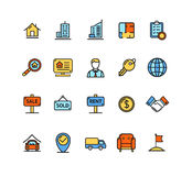 Real Estate Icon Color Set. Vector Royalty Free Stock Image