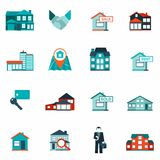 Real Estate Icon Flat. Real estate house and apartment rent and sale icon flat set isolated vector illustration Royalty Free Stock Photos