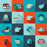 Real Estate Icon. Real estate house residential apartment icon flat set isolated vector illustration Stock Images