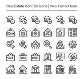 Real estate icon. Real estate line icon set,editable stroke Royalty Free Stock Photography