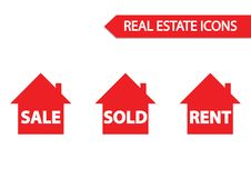Real estate icon: sale, sold and rent Royalty Free Stock Images