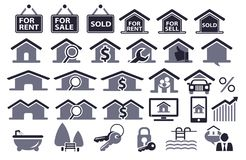 30 real estate icon. Set vector illustration